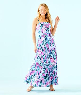 Aviana Maxi Dress, Mr Peacock Blue Tweethearts, large