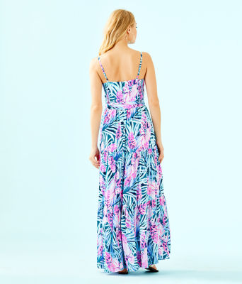 Aviana Maxi Dress, Mr Peacock Blue Tweethearts, large
