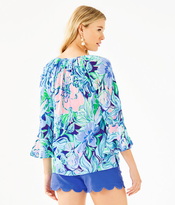 Willa Flounce Sleeve Top, Multi Party Thyme, large