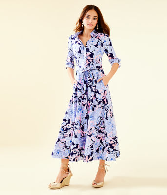 Mira Midi Stretch Shirtdress, Bright Navy Amore Please, large