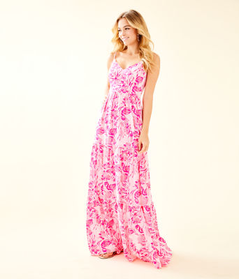 Melody Maxi Dress, Coral Reef Tint Flamingle, large 0