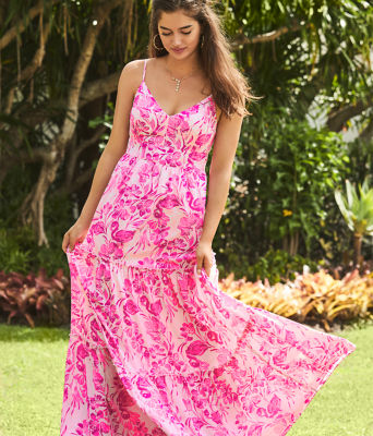 Melody Maxi Dress, Coral Reef Tint Flamingle, large 3