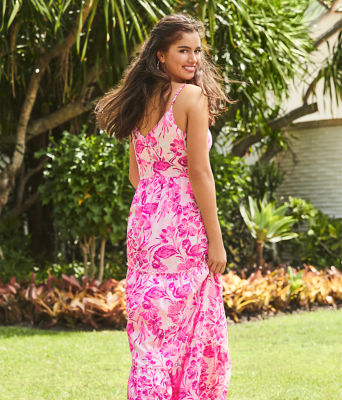 Melody Maxi Dress, Coral Reef Tint Flamingle, large 4