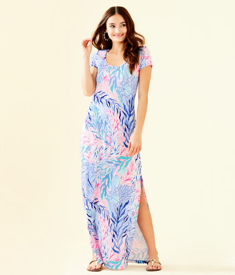 Wynne Maxi Dress, Crew Blue Tint Kaleidoscope Coral, large