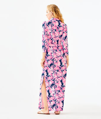 Holloway Maxi Dress, Inky Navy Flamingle, large