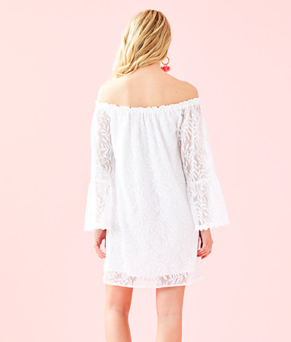 Nevie Dress, Resort White Swirling Leaf Lilly Lace, large 1
