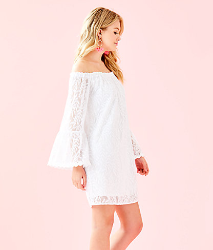 Nevie Dress, Resort White Swirling Leaf Lilly Lace, large 2