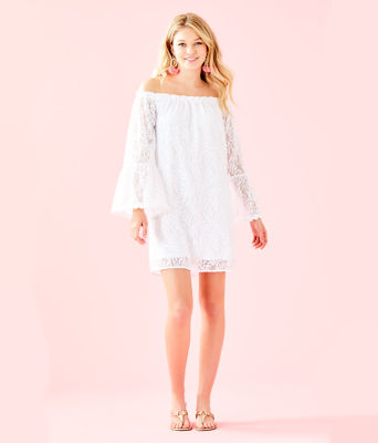 Nevie Dress, Resort White Swirling Leaf Lilly Lace, large 3