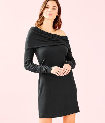 Belinda One Shoulder Dress, Onyx, large 0