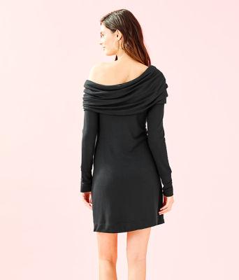 Belinda One Shoulder Dress, Onyx, large 1