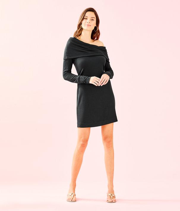 Belinda One Shoulder Dress, Onyx, large
