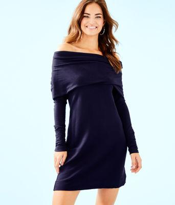 Belinda One Shoulder Dress, True Navy, large 0
