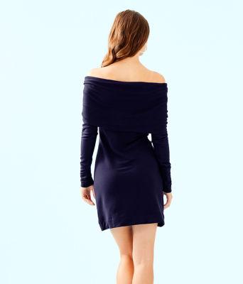 Belinda One Shoulder Dress, True Navy, large 1