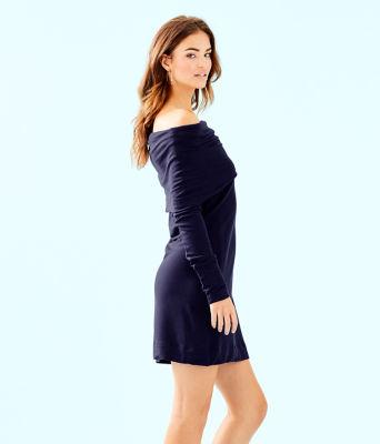 Belinda One Shoulder Dress, True Navy, large 2