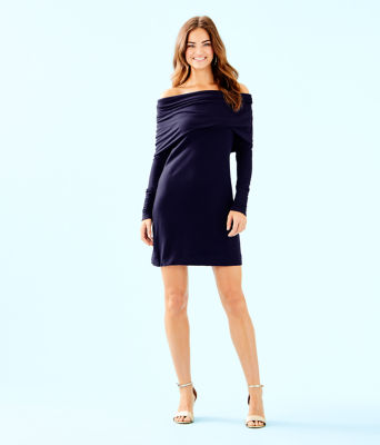 Belinda One Shoulder Dress, True Navy, large 3