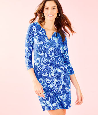 UPF 50+ 3/4 Sleeve Sophiletta Dress, Blue Grotto So Offishal, large 0