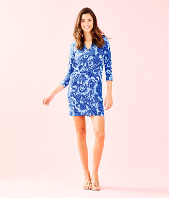 UPF 50+ 3/4 Sleeve Sophiletta Dress, Blue Grotto So Offishal, large 3