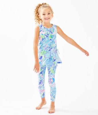 Girls Mini Donna Legging Set, Coastal Blue Lion Around, large 0