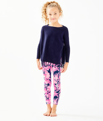 Girls Maia Legging, Inky Navy Flamingle, large 0
