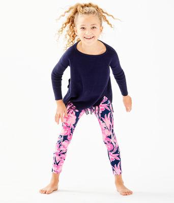 Girls Maia Legging, Inky Navy Flamingle, large 2