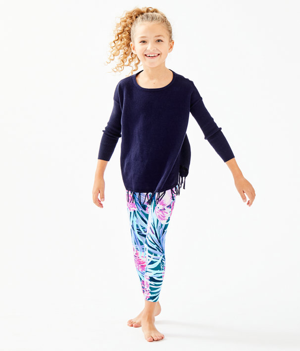 Girls Maia Legging, Mr Peacock Blue Tweethearts, large