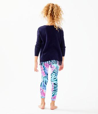 Girls Maia Legging, Mr Peacock Blue Tweethearts, large 1