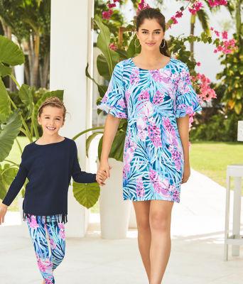 Girls Maia Legging, Mr Peacock Blue Tweethearts, large 2