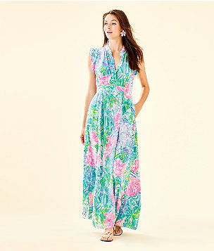 Palm Beach Silk Maxi Dress, Multi Bohemian Queen, large