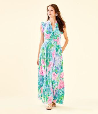 Palm Beach Silk Maxi Dress, Multi Bohemian Queen, large 0
