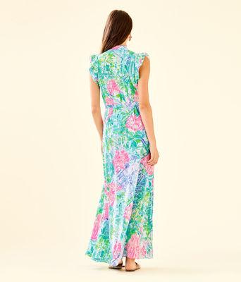 Palm Beach Silk Maxi Dress, Multi Bohemian Queen, large 1