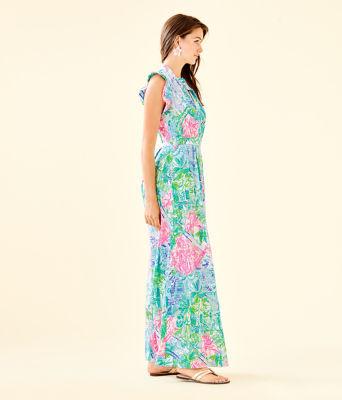 Palm Beach Silk Maxi Dress, Multi Bohemian Queen, large