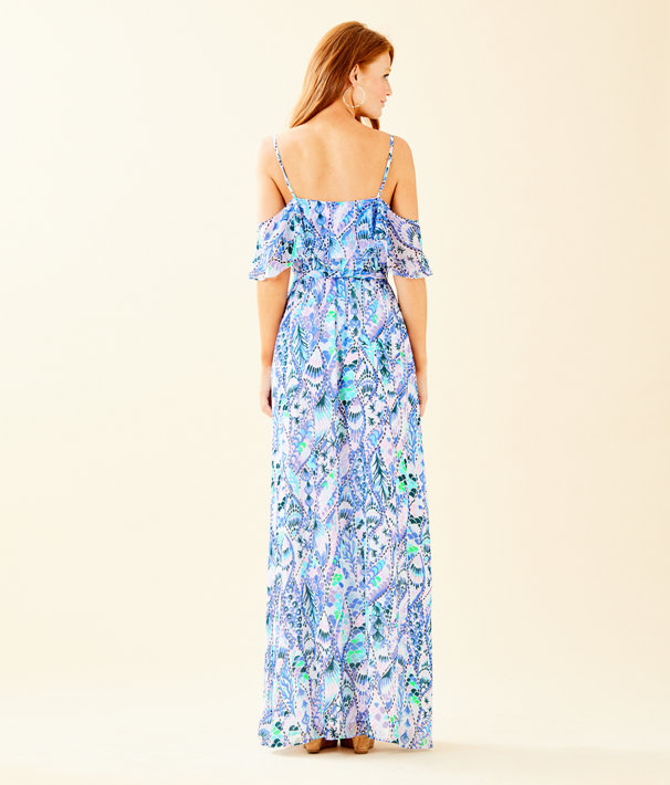 Zadie Off The Shoulder Maxi Dress, Coastal Blue Tails Of The Sea, large