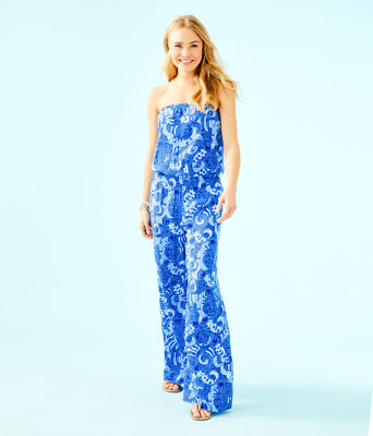Pim Strapless Jumpsuit, Blue Grotto So Offishal, large