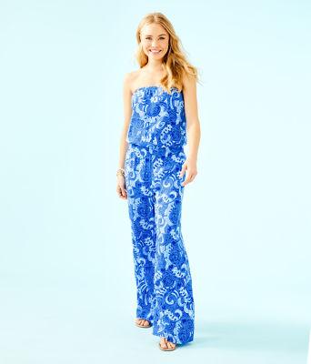 Pim Strapless Jumpsuit, Blue Grotto So Offishal, large