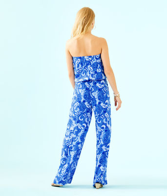 Pim Strapless Jumpsuit, Blue Grotto So Offishal, large 1