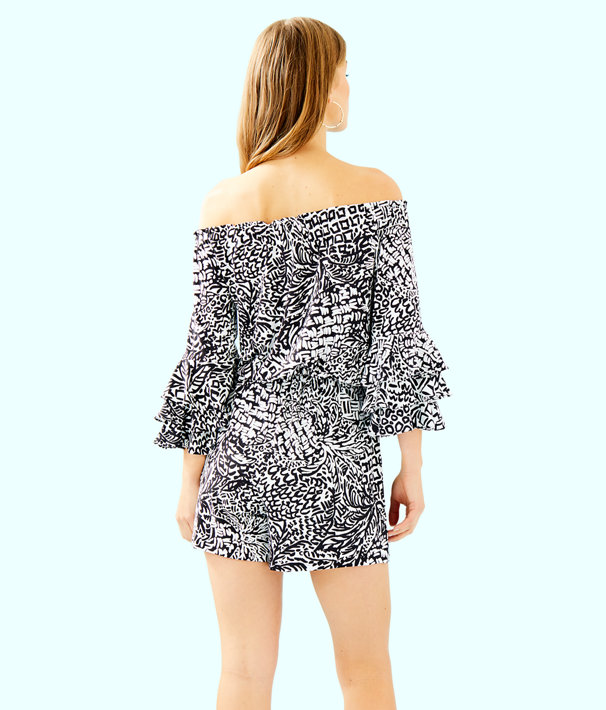 Calla Off The Shoulder Romper, Onyx Home Slice, large