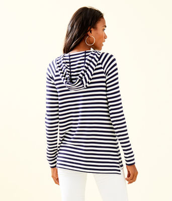 Arin Striped Lounge Pullover, Bright Navy Poolside Stripe, large 1