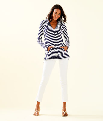 Arin Striped Lounge Pullover, Bright Navy Poolside Stripe, large