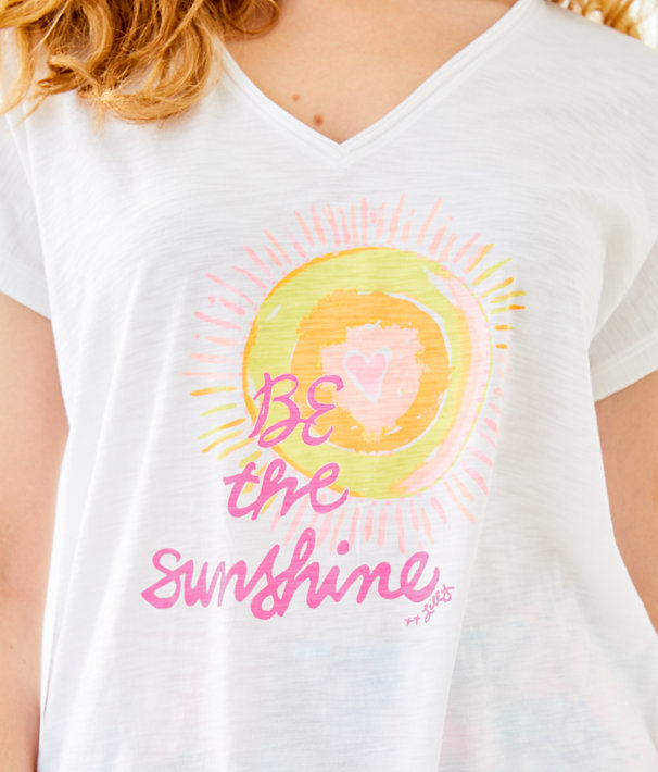 Colie Top, Resort White Be The Sunshine Graphic, large
