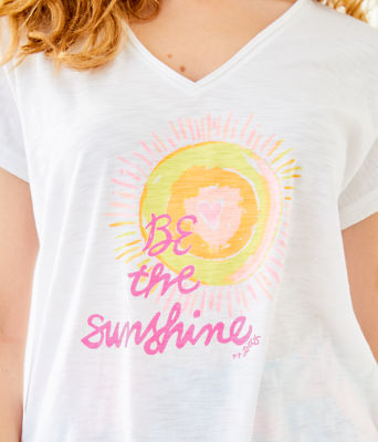 Colie Top, Resort White Be The Sunshine Graphic, large 2