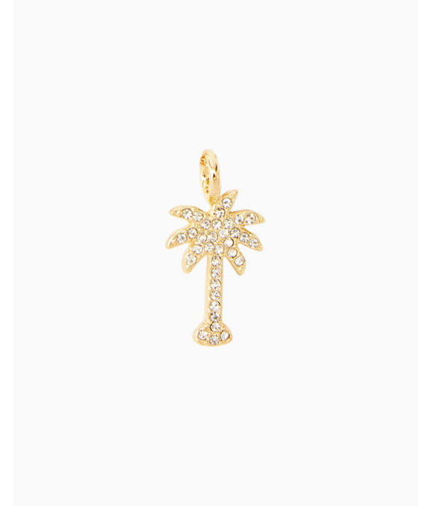 Large Custom Charm, Gold Metallic Large Palm Tree Charm, large