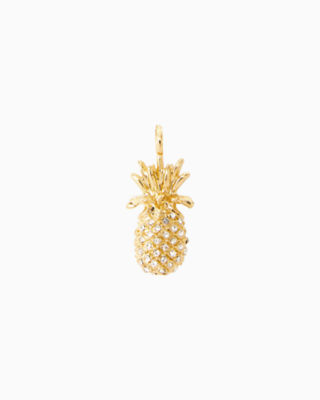 Large Custom Charm, Gold Metallic Large Pineapple Charm, large