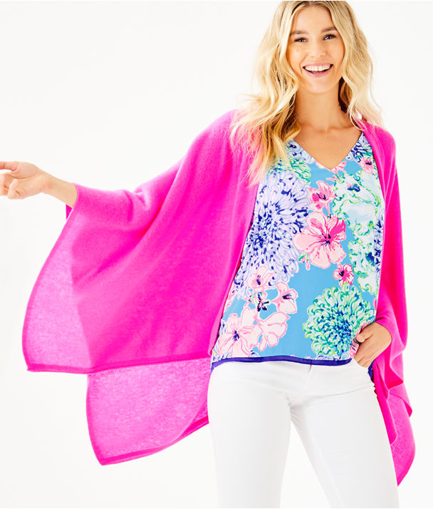 Terri Cashmere Wrap, Bougainvillea Pink, large