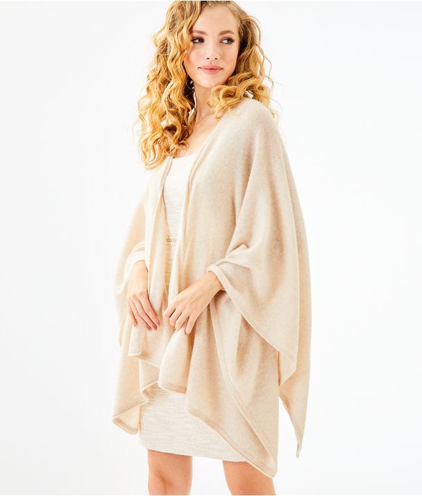 Terri Cashmere Wrap, Heathered Palm Beach Sandstone, large