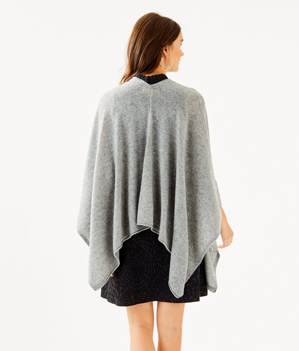 Terri Cashmere Wrap, Heathered Paloma Grey, large