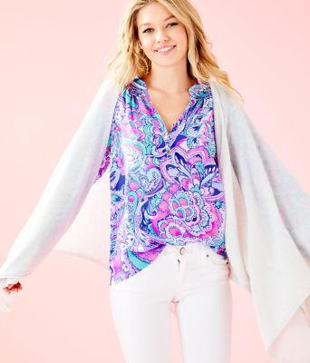 Terri Cashmere Wrap, Heathered Seaside Grey, large