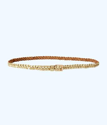 Callahan Braided Leather Belt, Gold Metallic, large
