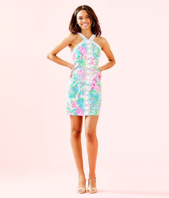 Vena Stretch Shift Dress, Multi Pop Up Lilly Of The Jungle, large 3