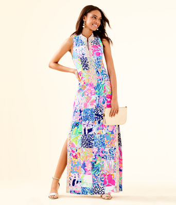 Alexa Maxi Dress, Multi Lillys 60th Patch, large
