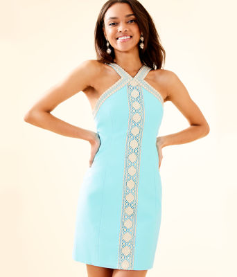 Vena Stretch Shift Dress, Bali Blue, large 0